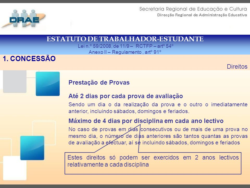 ESTATUTO DE TRABALHADOR-ESTUDANTE Lei n.º 59/2008, de 11/9 – RCTFP – artº 56º Anexo II – Regulamento, artº 92º 1.