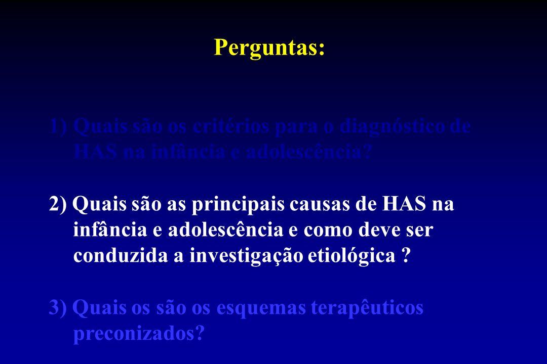 Perguntas: 1)Quais são os critérios para o diagnóstico de HAS na infância e adolescência.