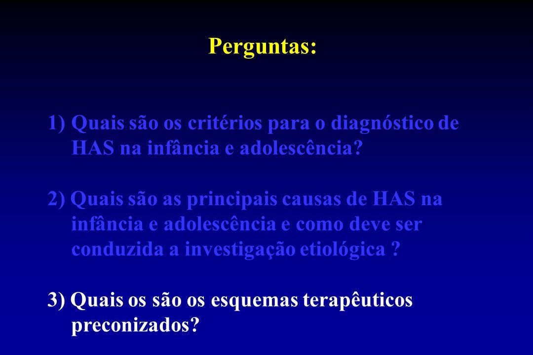 Perguntas: 1)Quais são os critérios para o diagnóstico de HAS na infância e adolescência? 2) Quais são as principais causas de HAS na infância e adole
