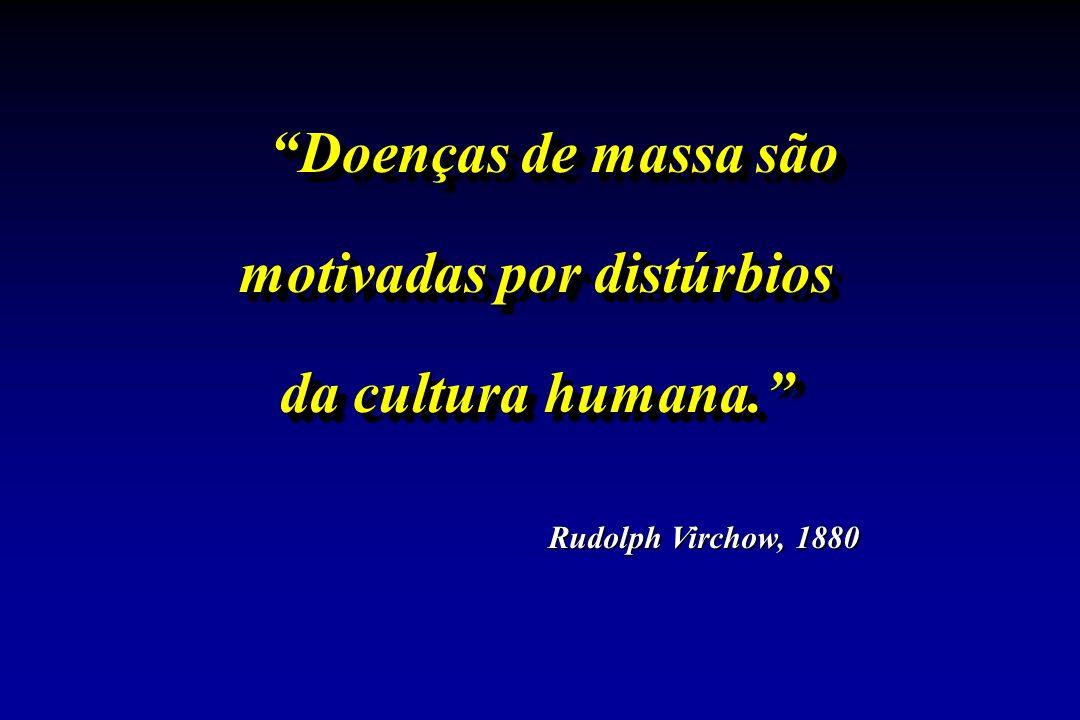 Doenças de massa são motivadas por distúrbios da cultura humana. Doenças de massa são motivadas por distúrbios da cultura humana. Rudolph Virchow, 1880