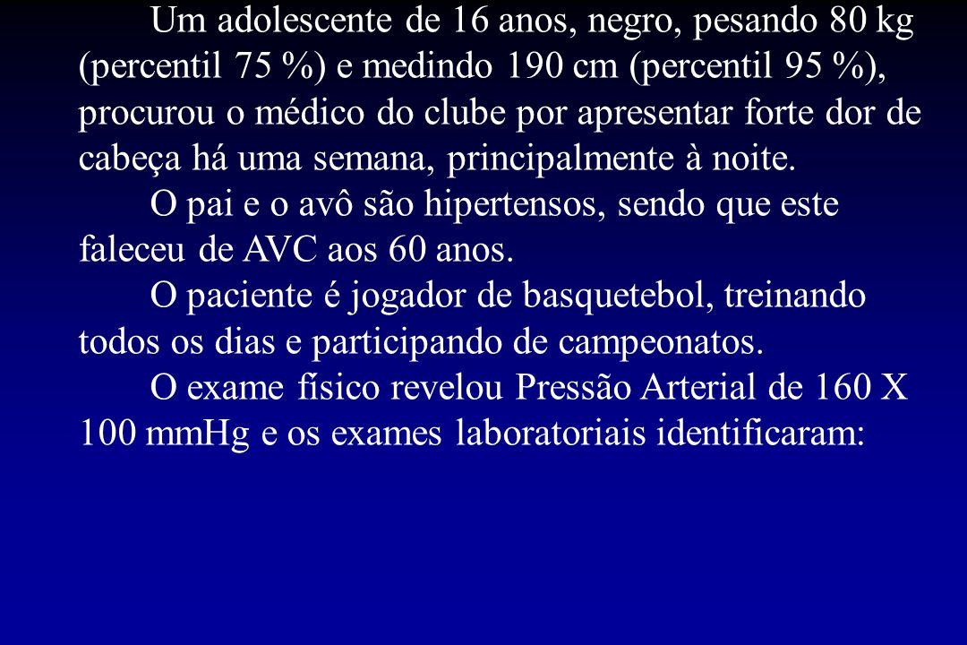 Um adolescente de 16 anos, negro, pesando 80 kg (percentil 75 %) e medindo 190 cm (percentil 95 %), procurou o médico do clube por apresentar forte do