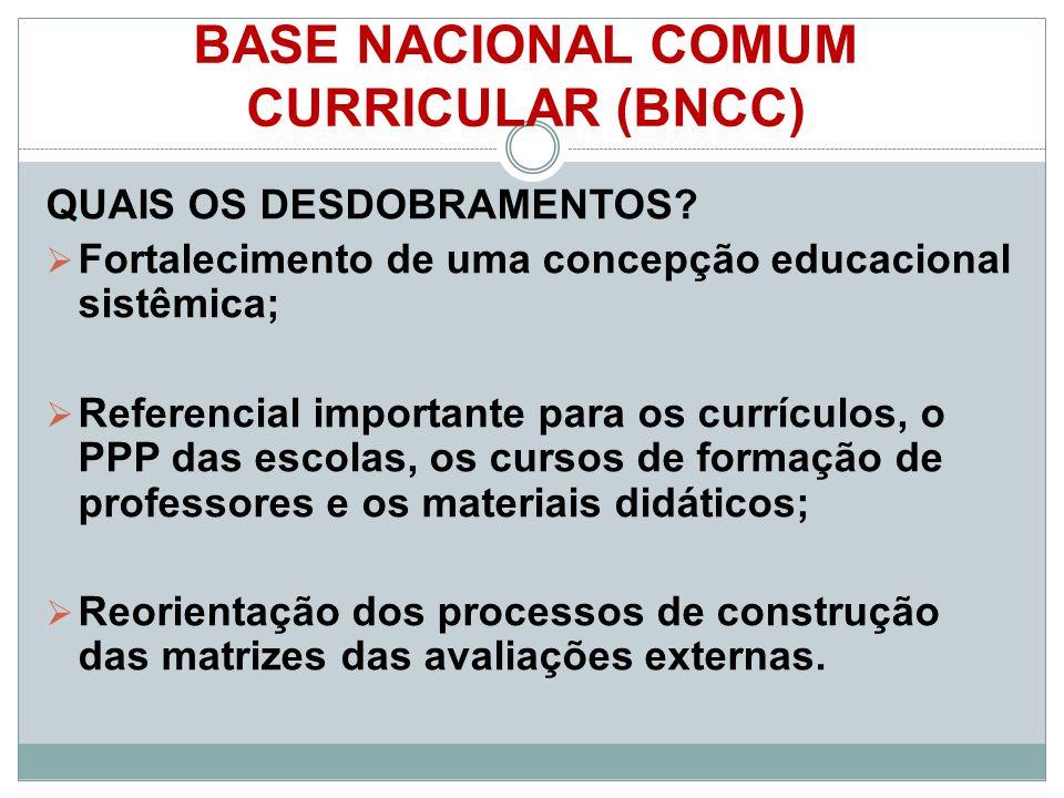 BASE NACIONAL COMUM CURRICULAR (BNCC) QUAIS OS DESDOBRAMENTOS.