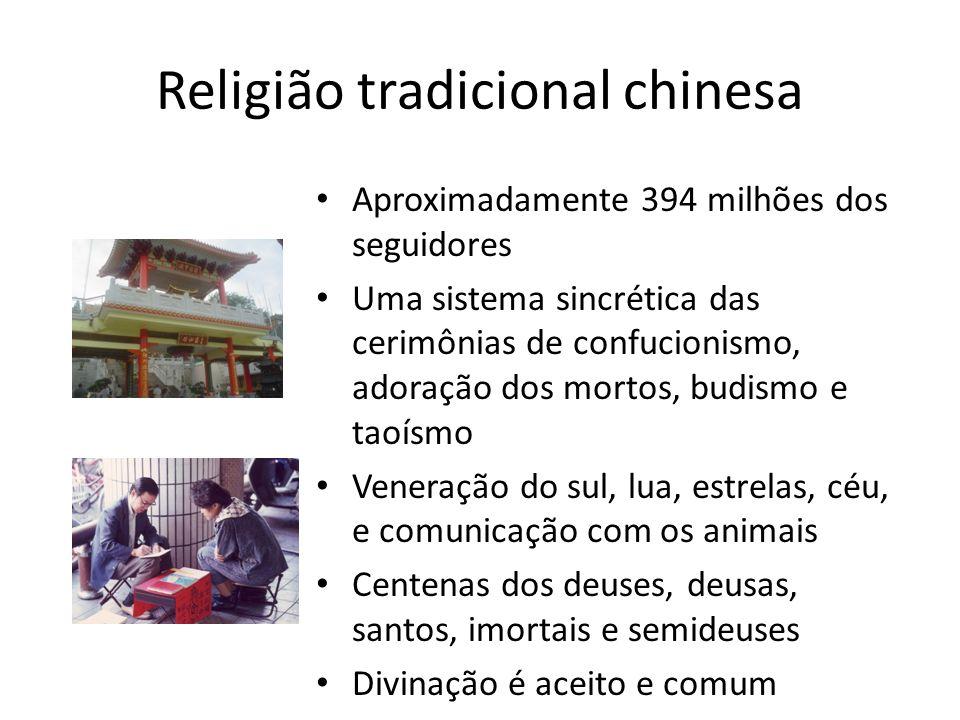 Aproximadamente 394 milhões dos seguidores Uma sistema sincrética das cerimônias de confucionismo, adoração dos mortos, budismo e taoísmo Veneração do sul, lua, estrelas, céu, e comunicação com os animais Centenas dos deuses, deusas, santos, imortais e semideuses Divinação é aceito e comum Religião tradicional chinesa