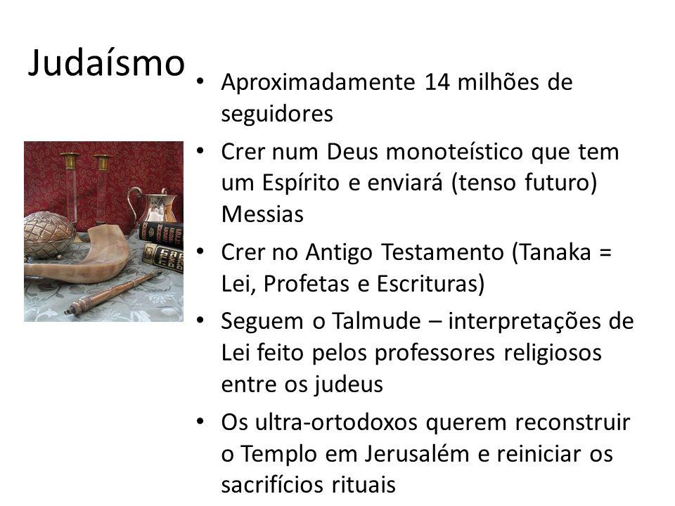 Judaísmo Aproximadamente 14 milhões de seguidores Crer num Deus monoteístico que tem um Espírito e enviará (tenso futuro) Messias Crer no Antigo Testamento (Tanaka = Lei, Profetas e Escrituras) Seguem o Talmude – interpretações de Lei feito pelos professores religiosos entre os judeus Os ultra-ortodoxos querem reconstruir o Templo em Jerusalém e reiniciar os sacrifícios rituais