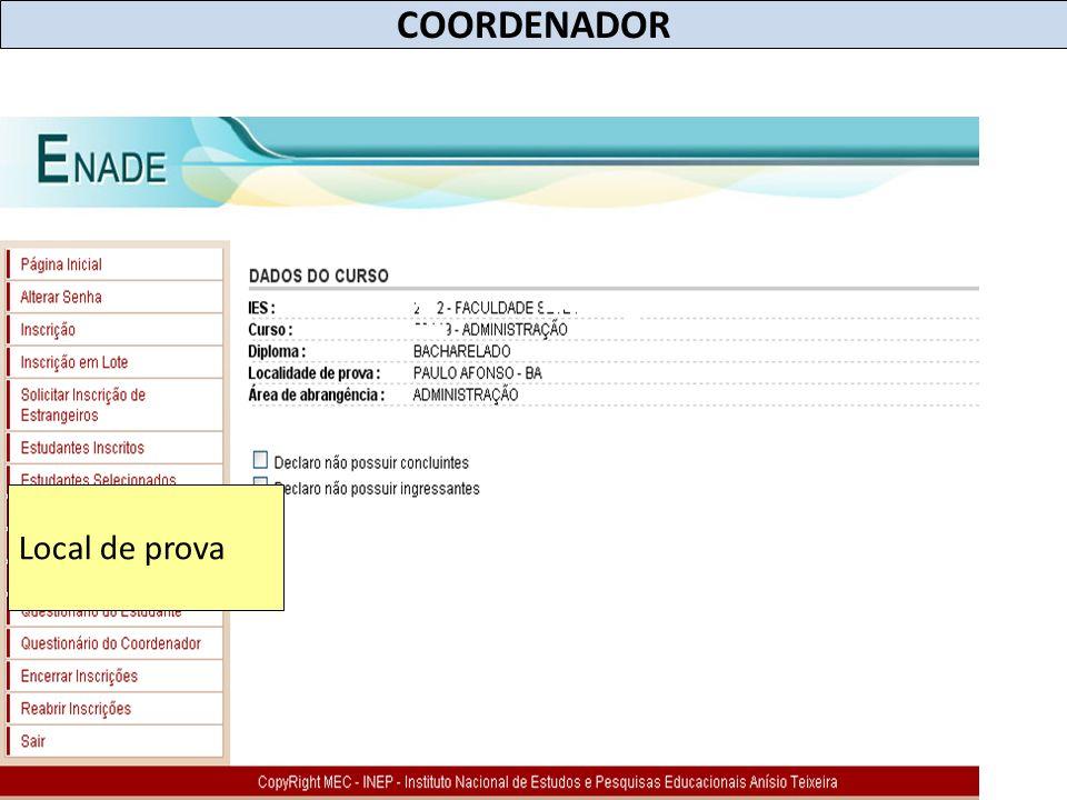 COORDENADOR Local de prova