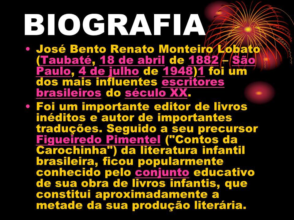 José Bento Renato Monteiro Lobato (Taubaté, 18 de abril de 1882 – São Paulo, 4 de julho de 1948)1 foi um dos mais influentes escritores brasileiros do século XX.Taubaté18 de abril1882São Paulo4 de julho19481escritores brasileirosséculo XX Foi um importante editor de livros inéditos e autor de importantes traduções.