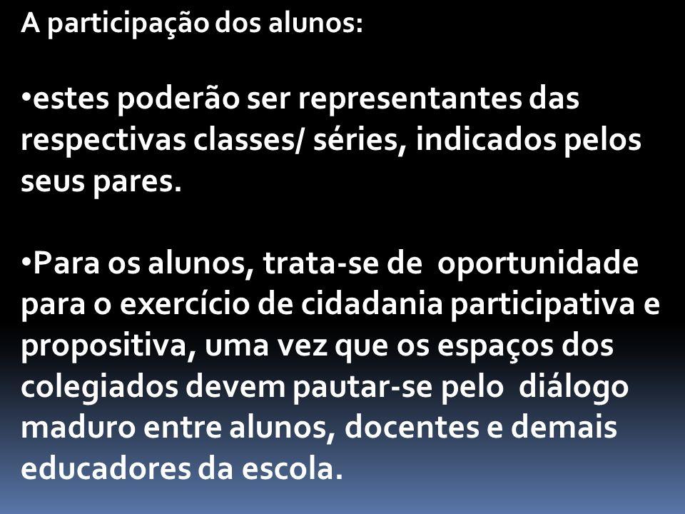 A participação dos alunos: estes poderão ser representantes das respectivas classes/ séries, indicados pelos seus pares.
