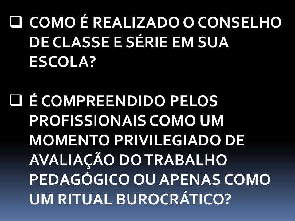  COMO É REALIZADO O CONSELHO DE CLASSE E SÉRIE EM SUA ESCOLA.