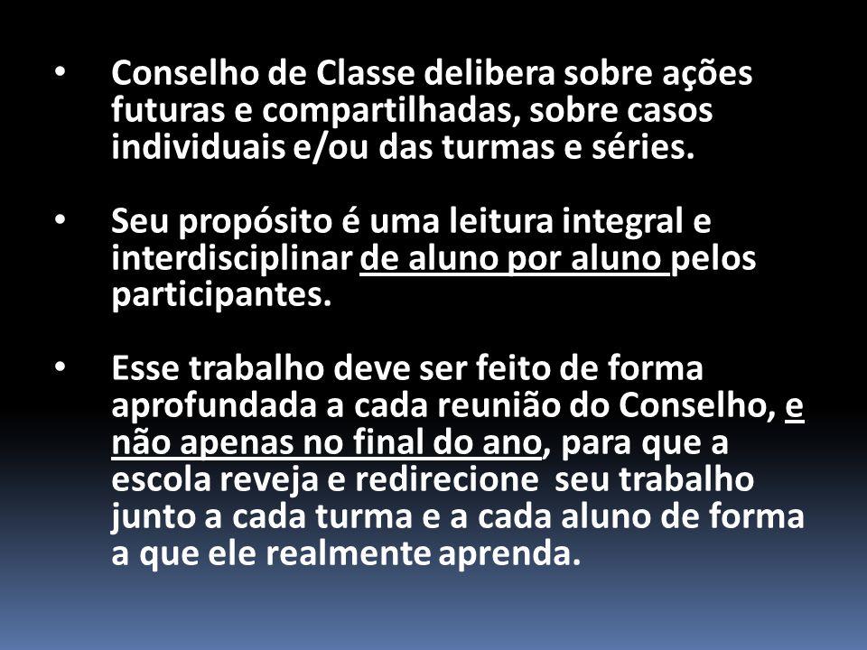 Conselho de Classe delibera sobre ações futuras e compartilhadas, sobre casos individuais e/ou das turmas e séries.