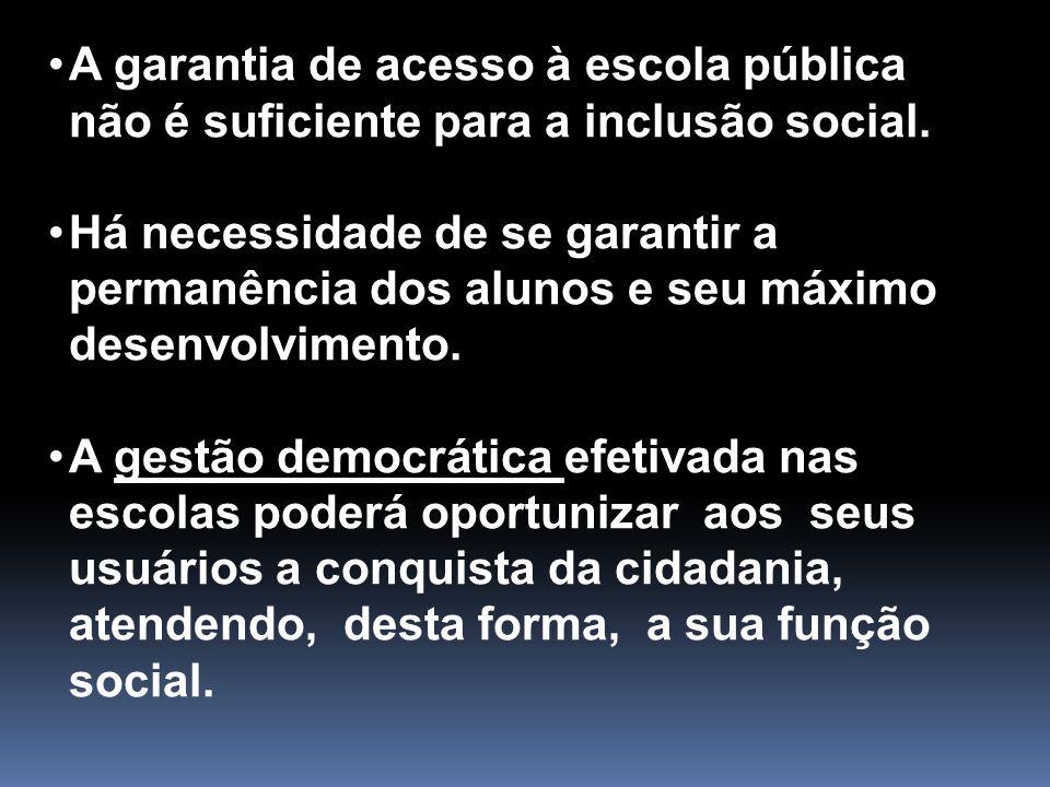 A garantia de acesso à escola pública não é suficiente para a inclusão social.
