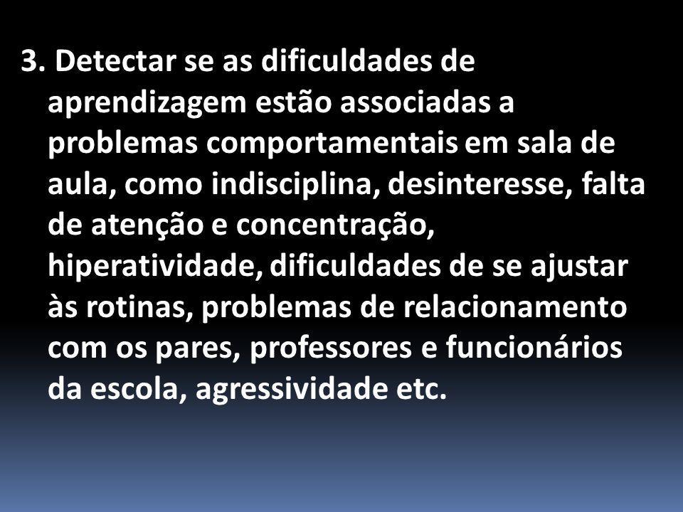 3. Detectar se as dificuldades de aprendizagem estão associadas a problemas comportamentais em sala de aula, como indisciplina, desinteresse, falta de
