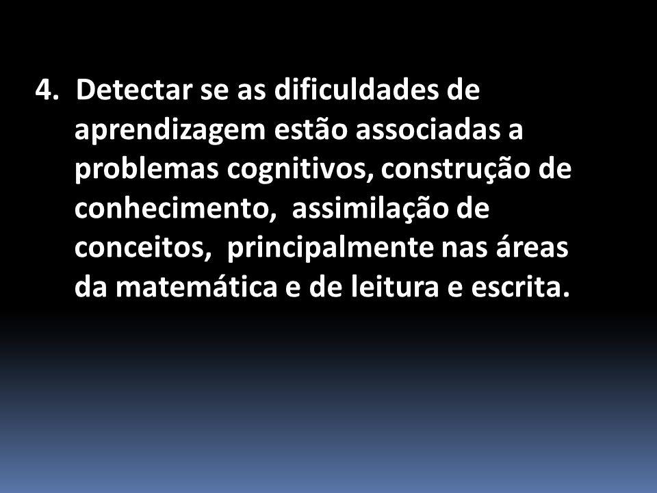 4. Detectar se as dificuldades de aprendizagem estão associadas a problemas cognitivos, construção de conhecimento, assimilação de conceitos, principa