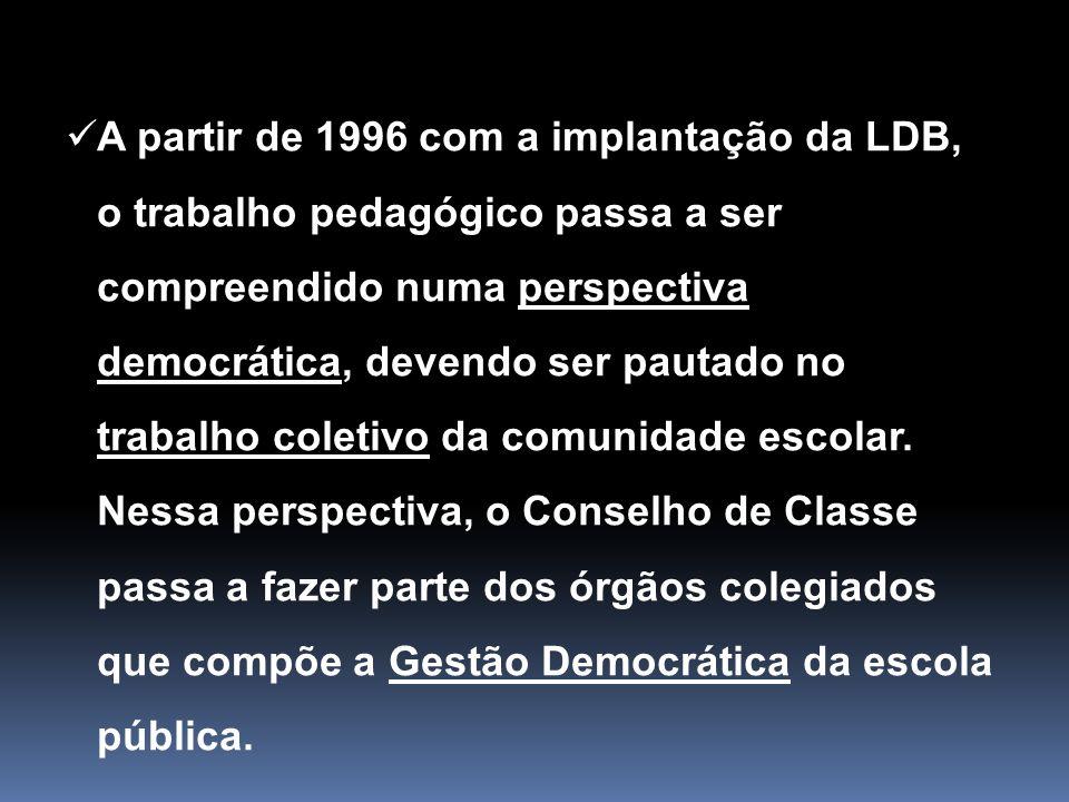 A partir de 1996 com a implantação da LDB, o trabalho pedagógico passa a ser compreendido numa perspectiva democrática, devendo ser pautado no trabalho coletivo da comunidade escolar.