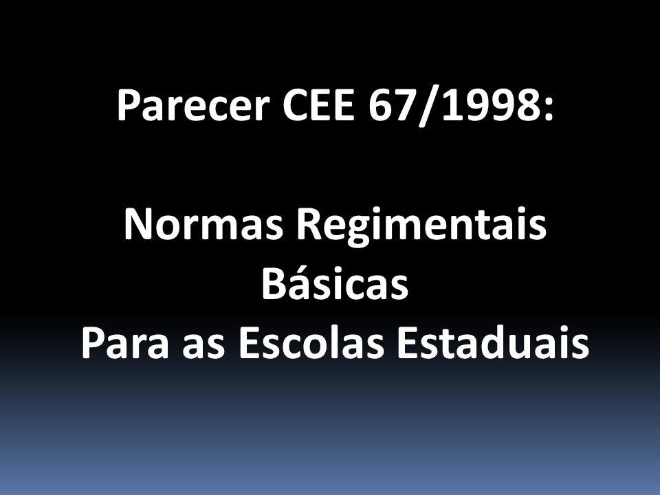 Parecer CEE 67/1998: Normas Regimentais Básicas Para as Escolas Estaduais