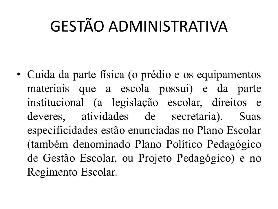 GESTÃO ADMINISTRATIVA Cuida da parte física (o prédio e os equipamentos materiais que a escola possui) e da parte institucional (a legislação escolar, direitos e deveres, atividades de secretaria).