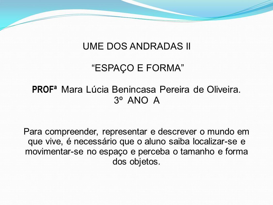 """UME DOS ANDRADAS II """"ESPAÇO E FORMA"""" PROFª Mara Lúcia Benincasa Pereira de Oliveira. 3º ANO A Para compreender, representar e descrever o mundo em que"""
