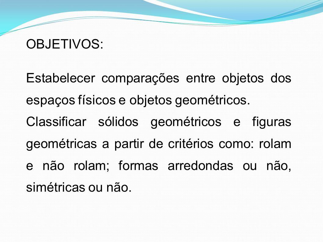 OBJETIVOS: Estabelecer comparações entre objetos dos espaços físicos e objetos geométricos. Classificar sólidos geométricos e figuras geométricas a pa