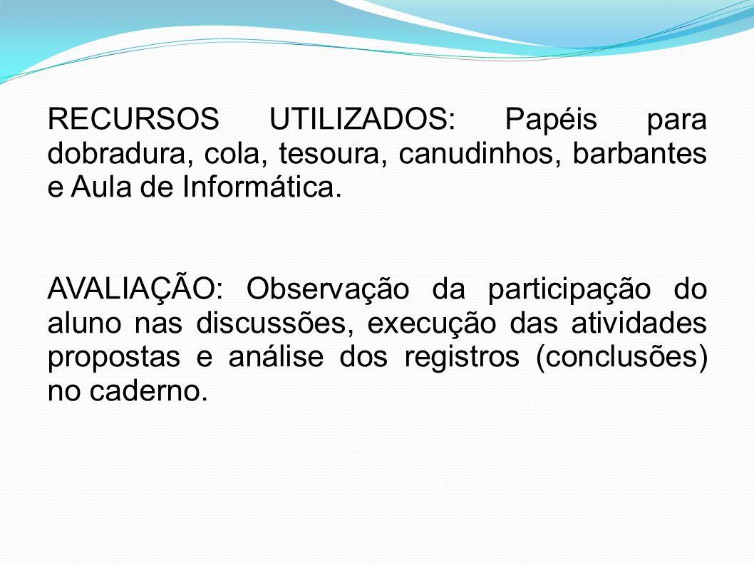 RECURSOS UTILIZADOS: Papéis para dobradura, cola, tesoura, canudinhos, barbantes e Aula de Informática. AVALIAÇÃO: Observação da participação do aluno