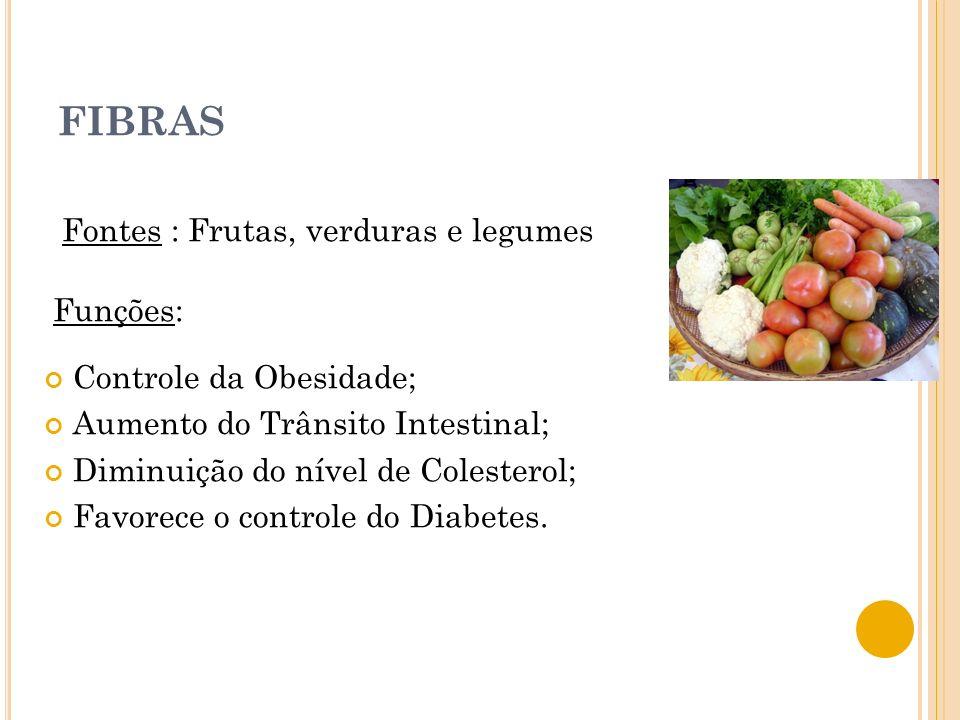 FIBRAS Fontes : Frutas, verduras e legumes Funções: Controle da Obesidade; Aumento do Trânsito Intestinal; Diminuição do nível de Colesterol; Favorece o controle do Diabetes.