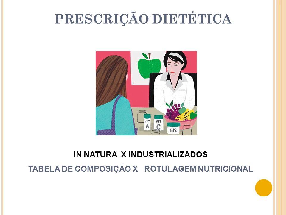 PRESCRIÇÃO DIETÉTICA IN NATURA X INDUSTRIALIZADOS TABELA DE COMPOSIÇÃO X ROTULAGEM NUTRICIONAL