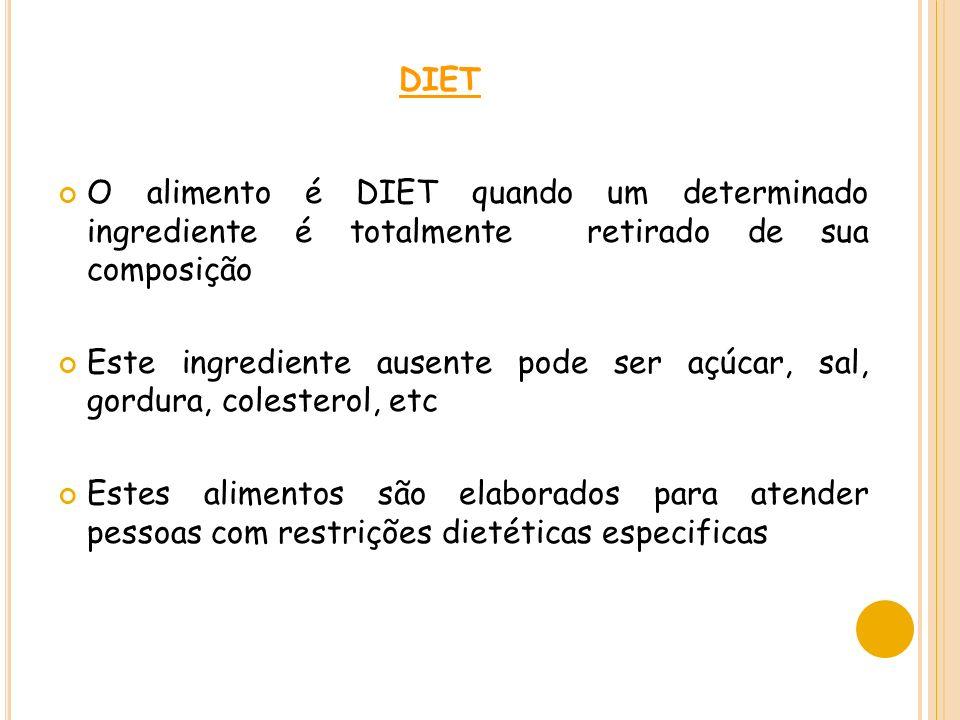 DIET O alimento é DIET quando um determinado ingrediente é totalmente retirado de sua composição Este ingrediente ausente pode ser açúcar, sal, gordura, colesterol, etc Estes alimentos são elaborados para atender pessoas com restrições dietéticas especificas
