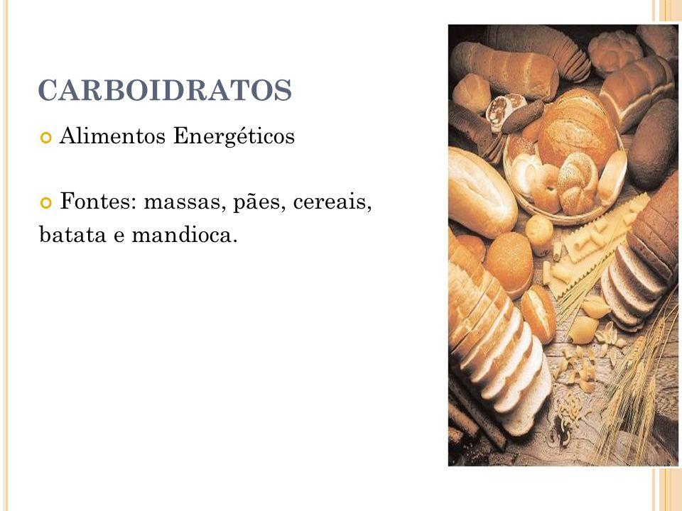 CARBOIDRATOS Alimentos Energéticos Fontes: massas, pães, cereais, batata e mandioca.