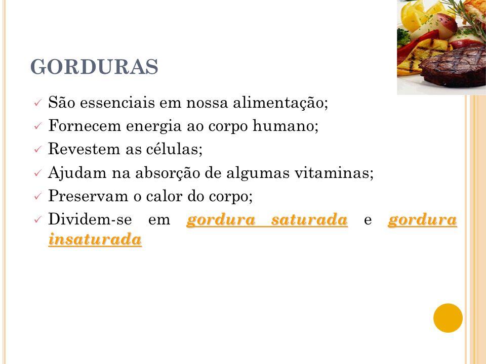 GORDURAS São essenciais em nossa alimentação; Fornecem energia ao corpo humano; Revestem as células; Ajudam na absorção de algumas vitaminas; Preservam o calor do corpo; gordura saturadagordura insaturada Dividem-se em gordura saturada e gordura insaturada
