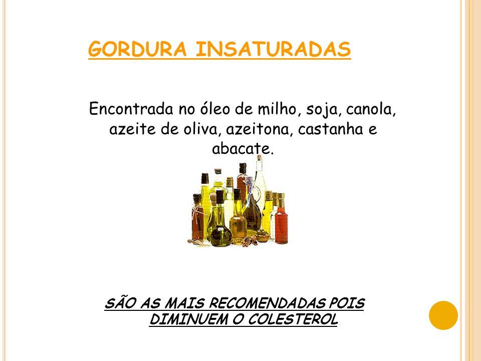 GORDURA INSATURADAS Encontrada no óleo de milho, soja, canola, azeite de oliva, azeitona, castanha e abacate.