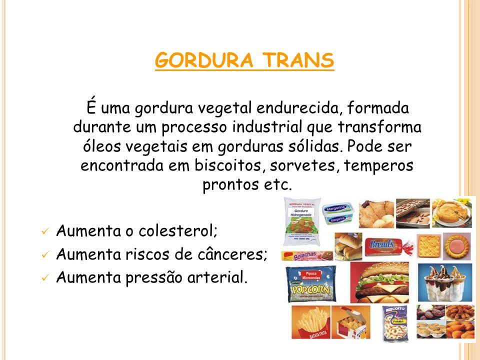 GORDURA TRANS É uma gordura vegetal endurecida, formada durante um processo industrial que transforma óleos vegetais em gorduras sólidas. Pode ser enc