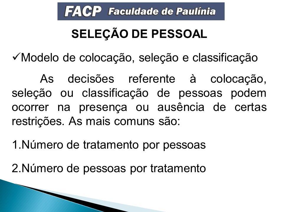 SELEÇÃO DE PESSOAL Modelo de colocação, seleção e classificação As decisões referente à colocação, seleção ou classificação de pessoas podem ocorrer na presença ou ausência de certas restrições.
