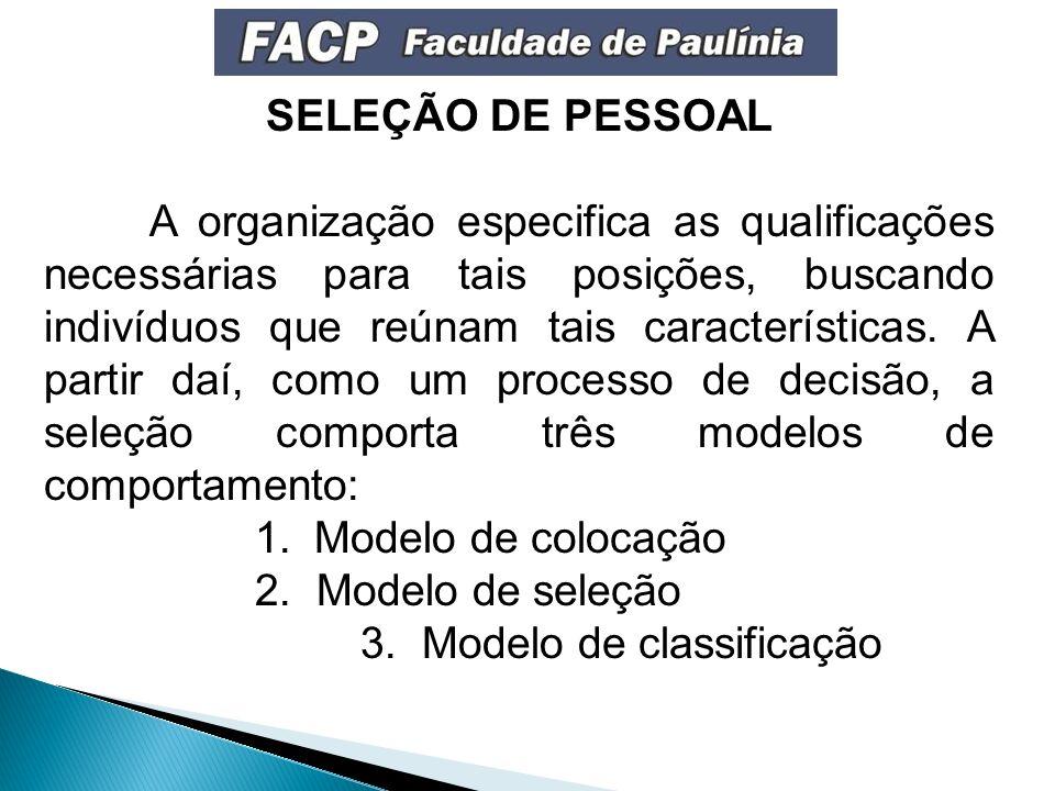SELEÇÃO DE PESSOAL A organização especifica as qualificações necessárias para tais posições, buscando indivíduos que reúnam tais características.