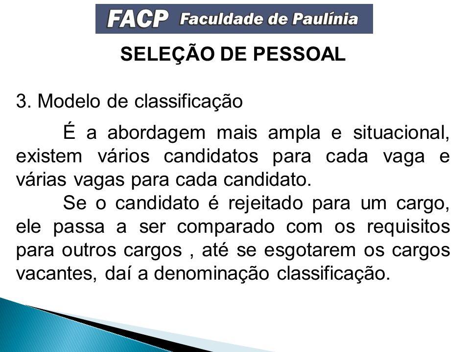 SELEÇÃO DE PESSOAL 3.