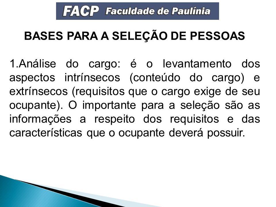 BASES PARA A SELEÇÃO DE PESSOAS 1.Análise do cargo: é o levantamento dos aspectos intrínsecos (conteúdo do cargo) e extrínsecos (requisitos que o cargo exige de seu ocupante).