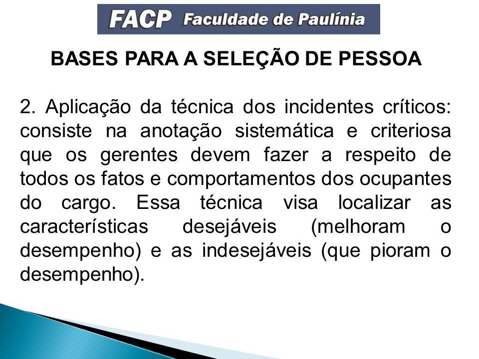 BASES PARA A SELEÇÃO DE PESSOA 2.