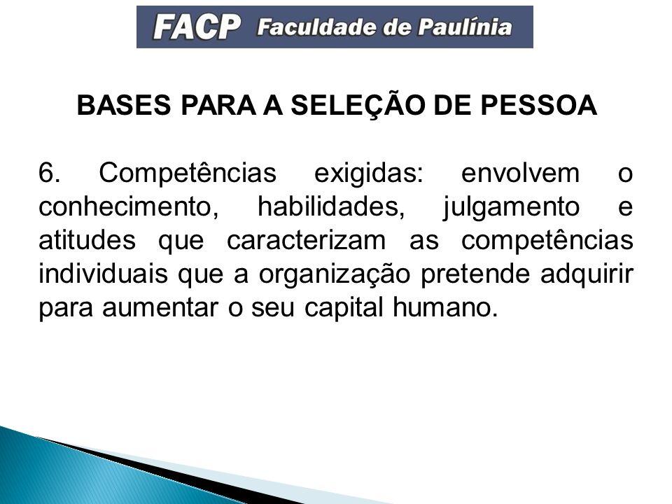 BASES PARA A SELEÇÃO DE PESSOA 6.