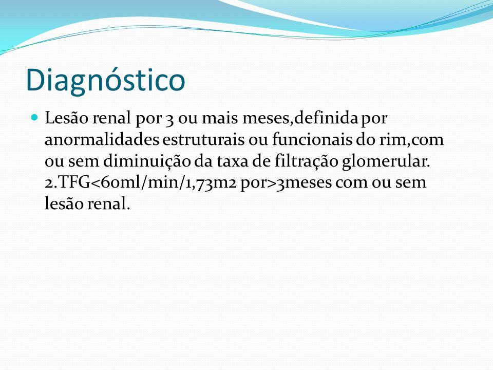 Diagnóstico Lesão renal por 3 ou mais meses,definida por anormalidades estruturais ou funcionais do rim,com ou sem diminuição da taxa de filtração glomerular.
