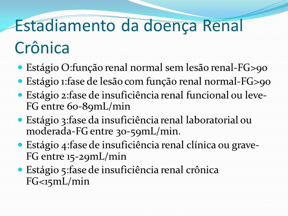 Estadiamento da doença Renal Crônica Estágio O:função renal normal sem lesão renal-FG>90 Estágio 1:fase de lesão com função renal normal-FG>90 Estágio 2:fase de insuficiência renal funcional ou leve- FG entre 60-89mL/min Estágio 3:fase da insuficiência renal laboratorial ou moderada-FG entre 30-59mL/min.