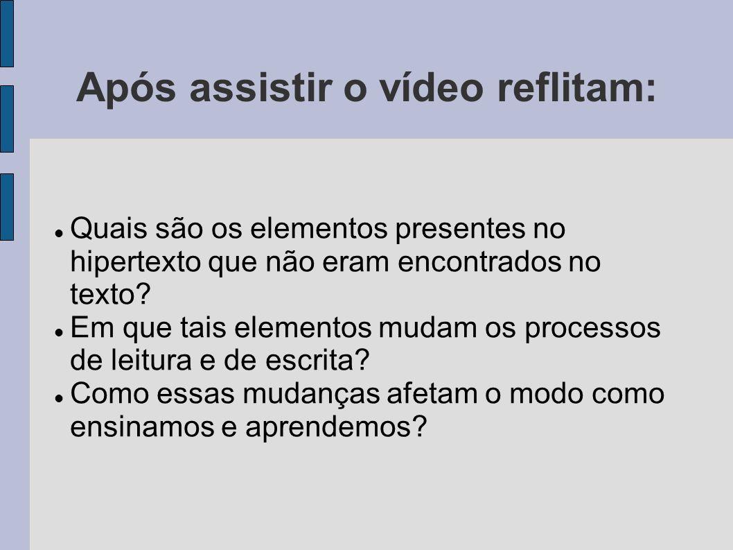 Após assistir o vídeo reflitam: Quais são os elementos presentes no hipertexto que não eram encontrados no texto.