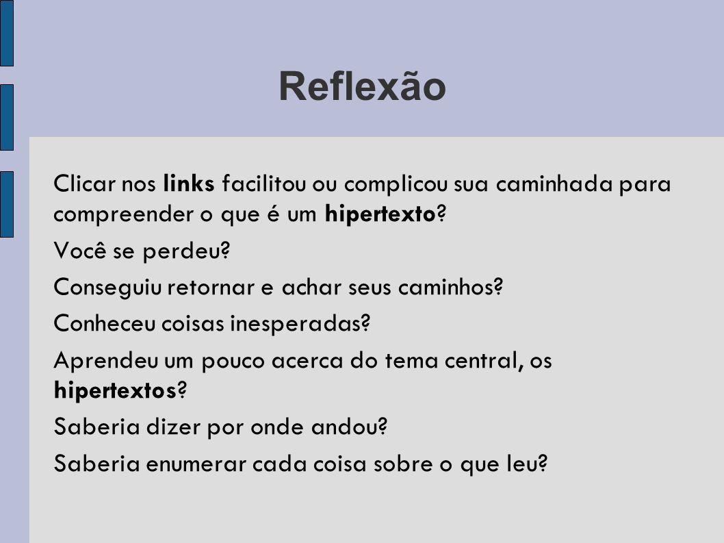 Reflexão Clicar nos links facilitou ou complicou sua caminhada para compreender o que é um hipertexto.