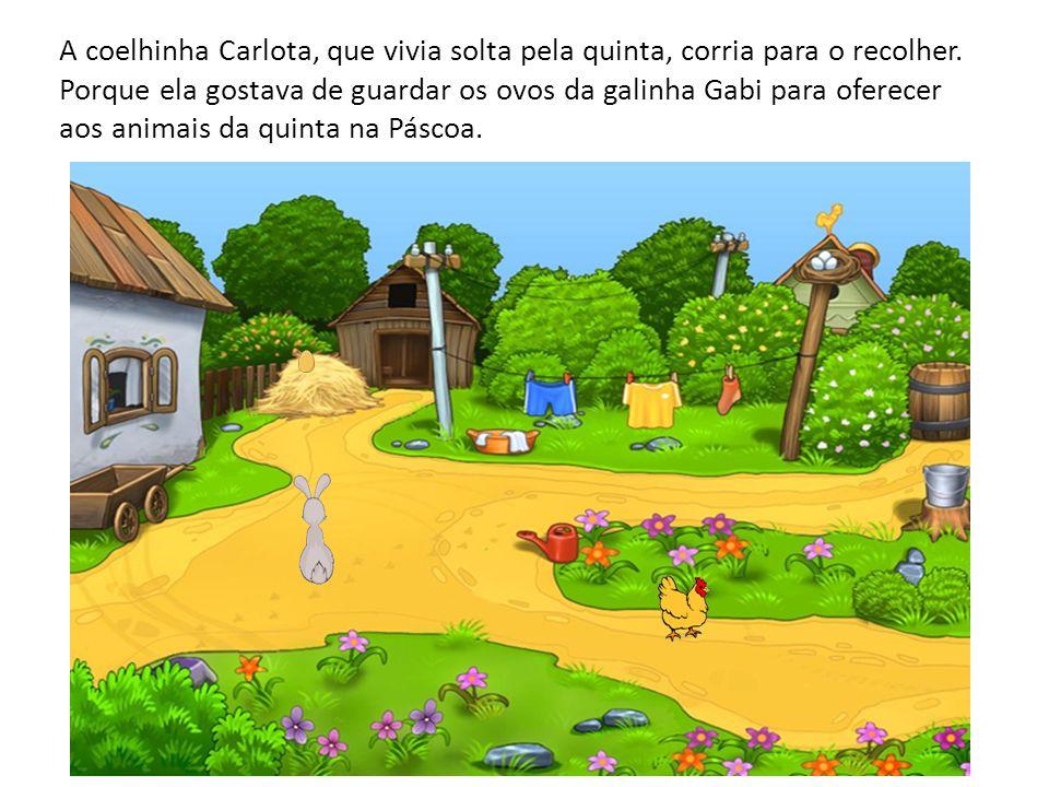 A coelhinha Carlota, que vivia solta pela quinta, corria para o recolher.