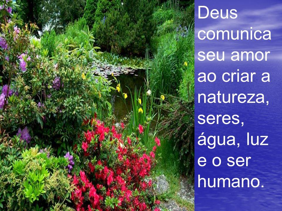 Deus comunica seu amor ao criar a natureza, seres, água, luz e o ser humano.