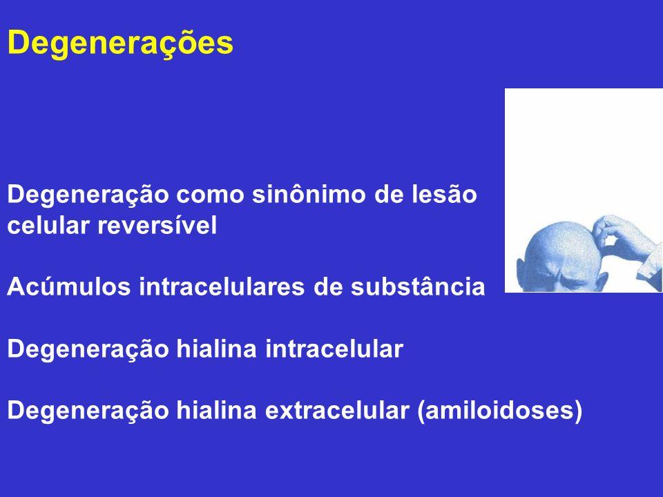 Degeneração como sinônimo de lesão celular reversível Acúmulos intracelulares de substância Degeneração hialina intracelular Degeneração hialina extra