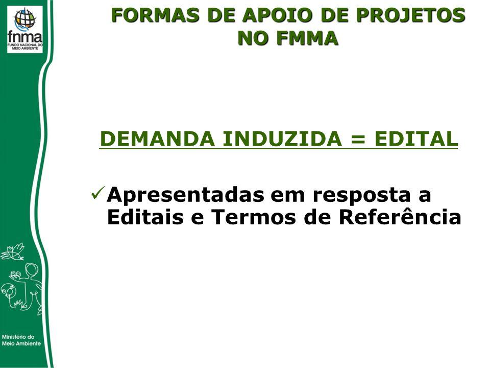 DEMANDA INDUZIDA = EDITAL Apresentadas em resposta a Editais e Termos de Referência FORMAS DE APOIO DE PROJETOS NO FMMA