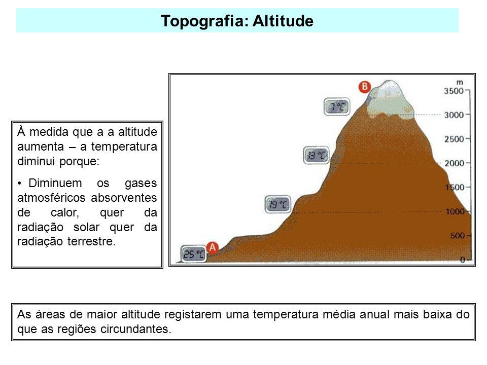 À medida que a a altitude aumenta – a temperatura diminui porque: Diminuem os gases atmosféricos absorventes de calor, quer da radiação solar quer da radiação terrestre.