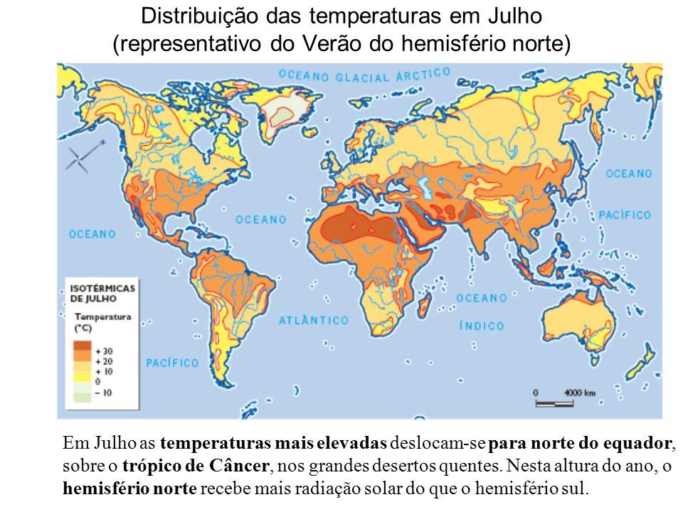 Distribuição das temperaturas em Julho (representativo do Verão do hemisfério norte) Em Julho as temperaturas mais elevadas deslocam-se para norte do equador, sobre o trópico de Câncer, nos grandes desertos quentes.