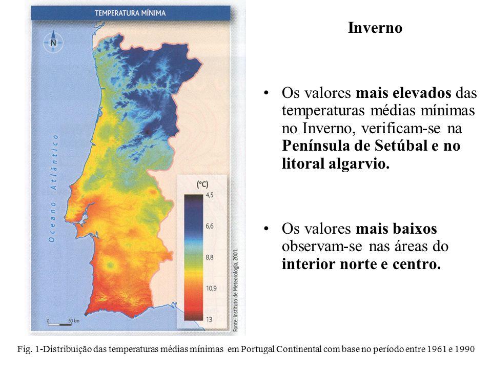 Inverno Os valores mais elevados das temperaturas médias mínimas no Inverno, verificam-se na Península de Setúbal e no litoral algarvio.