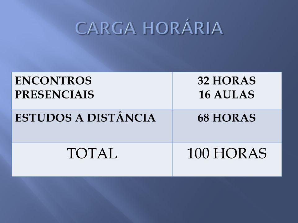 ENCONTROS PRESENCIAIS 32 HORAS 16 AULAS ESTUDOS A DISTÂNCIA68 HORAS TOTAL 100 HORAS