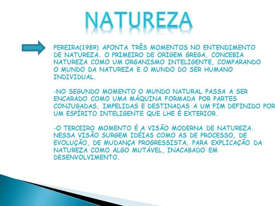 PEREIRA(1989) APONTA TRÊS MOMENTOS NO ENTENDIMENTO DE NATUREZA.