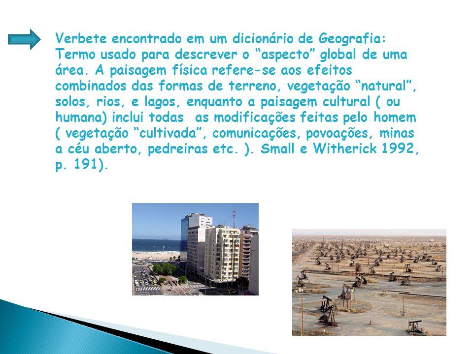 Verbete encontrado em um dicionário de Geografia: Termo usado para descrever o aspecto global de uma área.