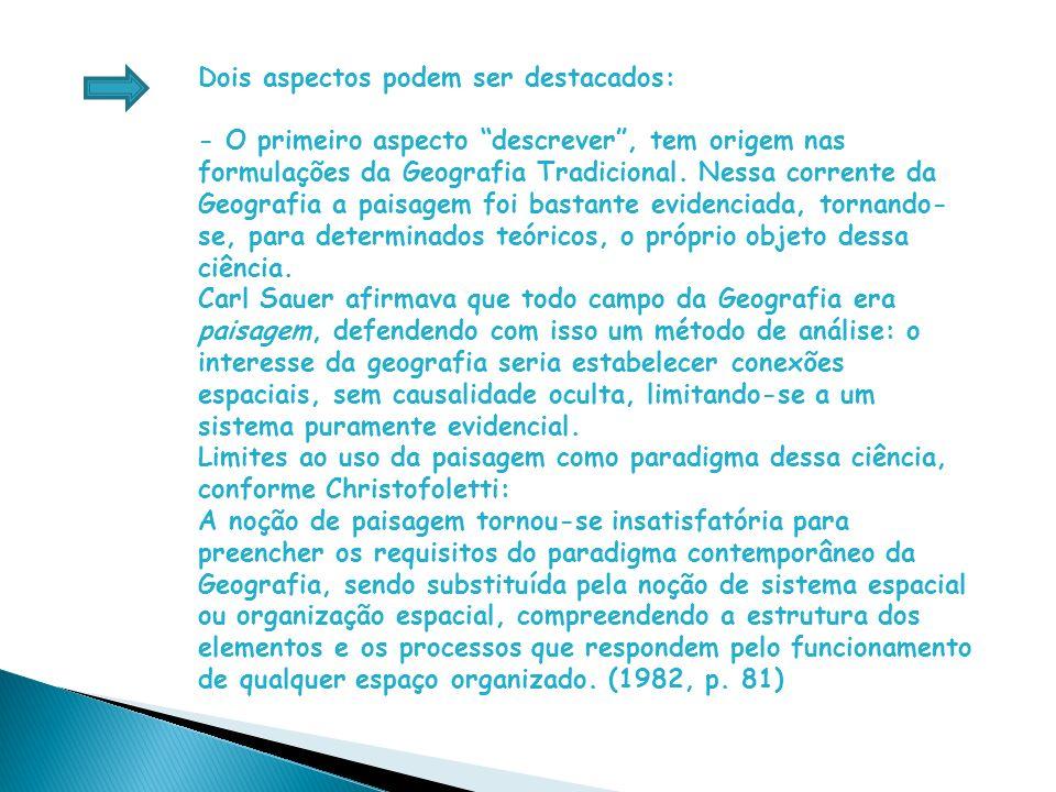Dois aspectos podem ser destacados: - O primeiro aspecto descrever , tem origem nas formulações da Geografia Tradicional.